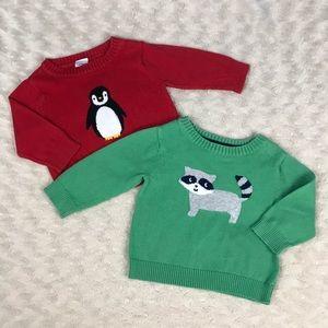 Carter's Baby Boy Sweater Bundle Raccoon Penguin